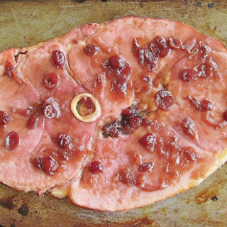 Drunken Ham: Broiled Ham Steak with Port and Cranberry Glaze  Recipe