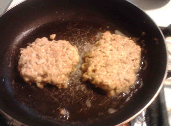 Heat saute pan with grapeseed oil. (med high) Place ball into pan and smash down...