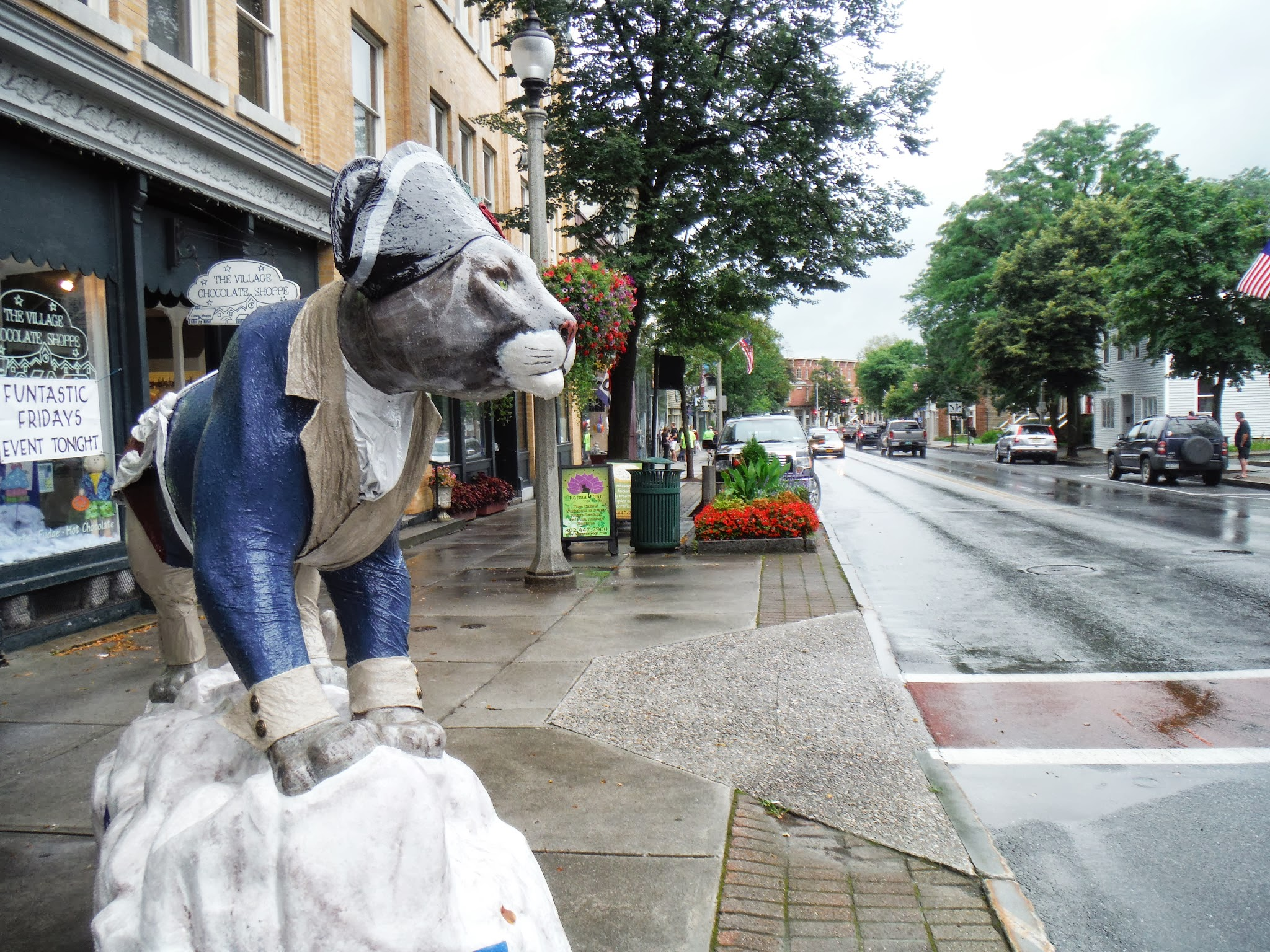 Photo: Day 52 August 9 2013 Latham NY to Bennington VT  In Bennington each year they pick an animal and then make these statues of the animal with different themes. Local artists and students paint the statutes that decorate the city. Later they auction off the works of art.
