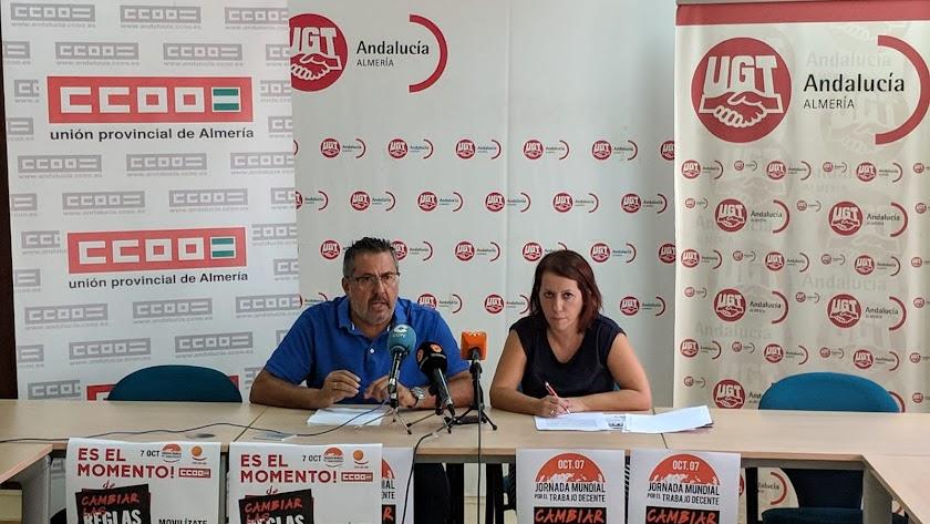 Antonio Valdivieso (CCOO) y Carmen Vidal (UGT)