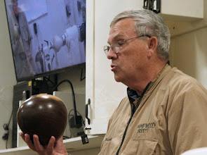 Photo: He brought some of his vessels to show, such as this American walnut hollow form...