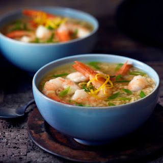 Lemon Garlic Shrimp Soup with Brown Rice.