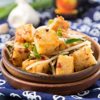 Pan-fried Turnip Cake With Xo Sauce.