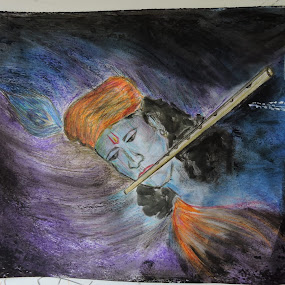 OIL PASTELS & COLOUR PENCIL SKETCH BY ME LORD SHREE KRISHA .......... 03/04/15 by Vaibhav Chavan - Drawing All Drawing