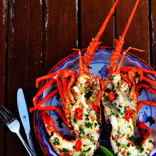 Grilled Crayfish with Lime, Chilli & Coriander Butter.