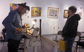 Photo: There's something cool about turning in an art gallery.  Is woodturning a craft or an art?  Yes.