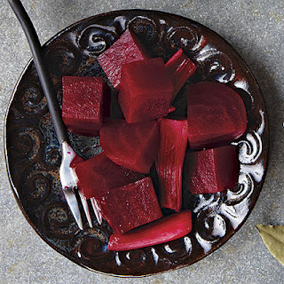 Sweet-and-Sour Pickled Beets with Spring Onions.
