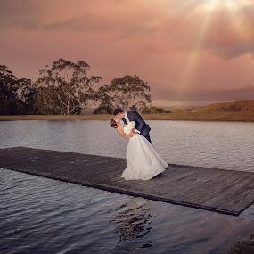 Sunburst Lovers by Alan Evans - Wedding Bride & Groom ( sunburst, wedding photography, wedding day, wedding, aj photography, jetty, bride and groom, bride, canberra wedding photographer, groom )