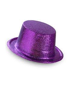 Hatt, lila glitter