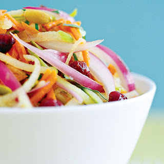 Carrot-Apple Slaw with Cranberries and Pumpkin Seeds.