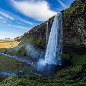 Seljalandsfoss by Indigo Sanjalec - Landscapes Waterscapes ( iceland, seljalandsfoss, fall, waterfall, panorama )