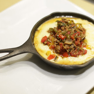 Grits with Mushroom, Sausage and Pepper Ragout