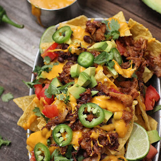 Vegan Nachos with Barbecue Jackfruit.