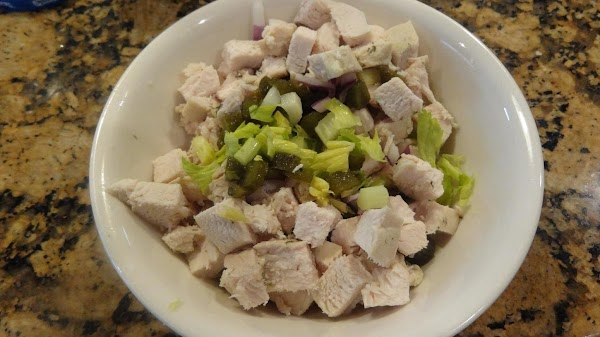 FOR SANDWICHES:  Dice the chilled prepared chicken breast, add the red onion, celery...