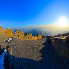 Great Wall of China by Kamal Kamaludin - Buildings & Architecture Public & Historical ( mountain, pagoda, silhouette, stone, vibrant, travel, architecture, glow, barrier, ancient, sky, topography, nature, mirrored, weather, china, protection, orange, lookout, battlements, tourism, lake, japanese, landmark, environment, chinese empire, manicured, view, reflection, spectacular, celestial, vivid, volcanic, defensive, beauty, landscape, cone, distance, mountains, volcano, towers, tranquillity, dramatic, construction, geological, sightseeing, formation, water, great wall of china, lush, landscaping, traditional, scenic, crater, wilderness, lighting, sunset, background, fortification, historical, garden, atmospheric )