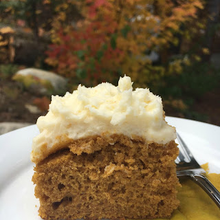 Cake Mix Pumpkin Spice Cake With Cream Cheese Frosting.