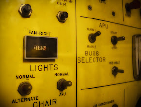 """Photo: """"Honey, can you get the lights?"""" USS Hornet, Alameda, CA. 2011.  I took this photo during my recent visit to the USS Hornet, in Alameda CA. The hornet has an apollo landing exhibit, and this panel was inside the mobile quarantine unit, used by astronauts returning to earth.  A few months ago this is not the sort of photo I would have made, but hanging out with photogs like +Thomas Hawk has made me consider that almost anything around me can become a photograph if you take the time to look.  Google+ is like never ending photo workshop for me."""