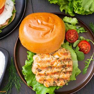 Swedish Salmon Burger with Lemon Yogurt Sauce Recipe