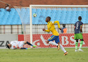 Khama Billiat of Mamelodi Sundowns scores from a free kick and celebrates during Absa Premiership 2017/18 Mamelodi Sundowns v Platinum Stars at Loftus Versfeld Stadium in Pretoria South Africa on 20 January 2018.