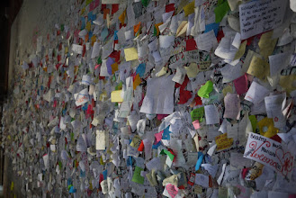 Photo: Wall totally plastered with people's love wishes (Juliet's home)
