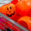 Plastic Pumpkins by Edward Gold - Public Holidays Halloween ( gray shopping cart, halloween, pumpkins in shopping cart, plastic pumpkins, orange pumpkins,  )