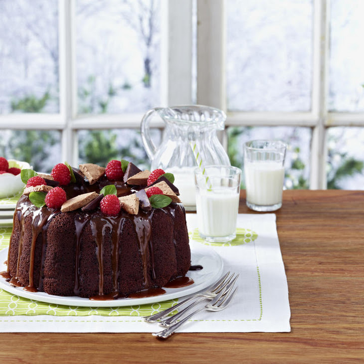Chocolate and Coffee Bundt Cake with Chocolate Nougat and Chocolate Caramel Sauce