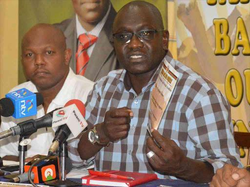 Expelled Thirdway Alliance Kenya party leader Ekuru Aukot at Mombasa Club. Photo/FILE