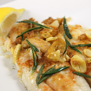 Pan-Seared Flounder with Fried Rosemary & Garlic.