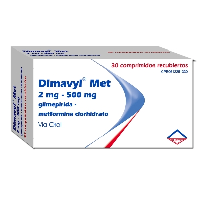 Glimepirida + Metformina Dimavyl Met 2/500Mg x 30 Comprimidos Leti