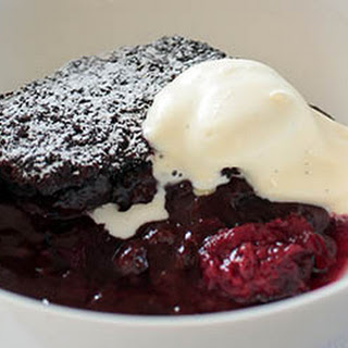 Self-saucing chocolate and Black Doris plum pudding