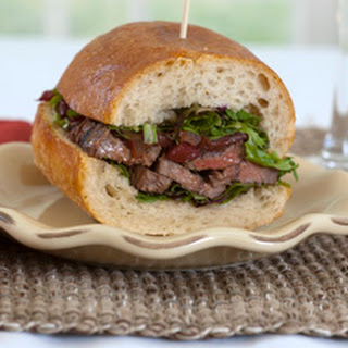 Pepper Steak Sandwich with Cabernet Sauvignon Sauce.