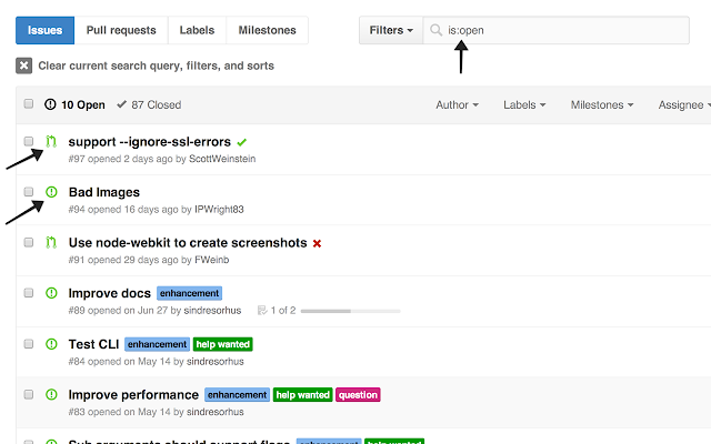 Show All GitHub Issues
