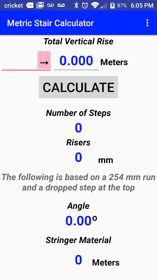 Metric Stair Calculator