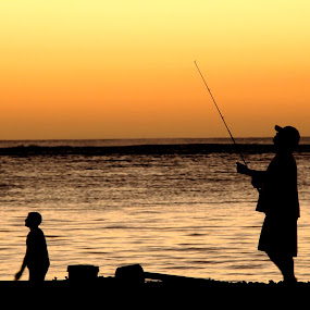 Father & son by Bernice Then - People Family ( father & son, sunset, family, beach, sunrise, people, silhouette,  )