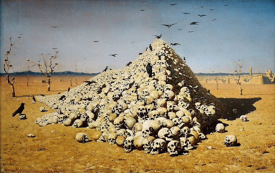 Politicians engaging with voters during the 2017 British General Election, as depicted in Vasily Vereshchagin, The Apotheosis of War (1871).