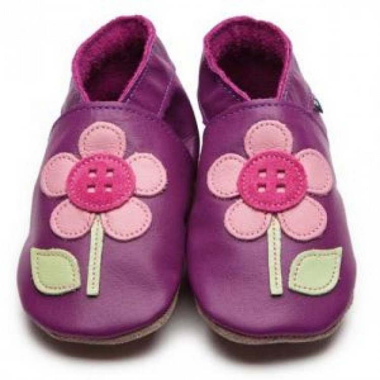 Inch Blue Soft Sole Leather Shoes - Button Flower Grape (12-18 months)
