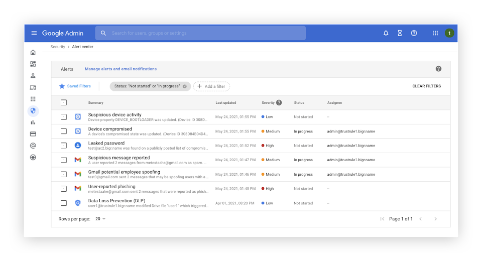 Unified view of essential notifications