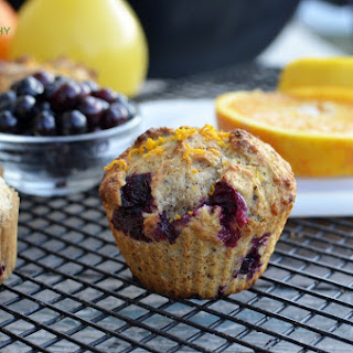 100% Whole Wheat Orange Blueberry Muffins