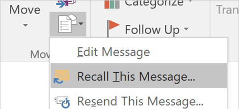 Recall a message in 2016 version
