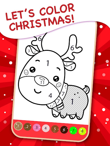Happy Kids Christmas Coloring Book By Numbers 2.1 screenshots 1