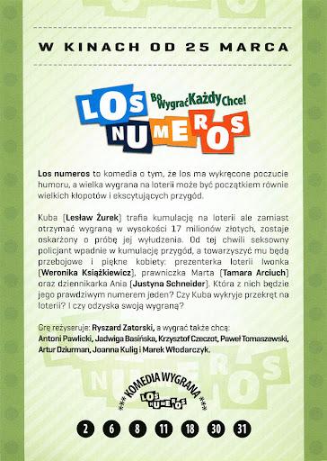Tył ulotki filmu 'Los Numeros'
