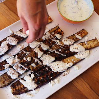 Grilled Japanese Eggplant with Yogurt, Za'atar, Mint & Feta