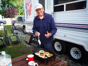 Photo: Day 40 Manitowoc to Ludington MI  Jim with perfect pan cakes