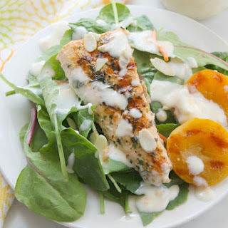 Grilled Salmon Salad with Apricot Dressing.