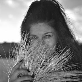 hiden smile by Octavian Oprea - People Portraits of Women ( smile hidden girl black and white portrait,  )