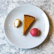 Treacle Tart with Clotted Cream & Raspberry Sauce