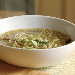 Chicken Noodle Soup with Ginger, Shiitakes & Leeks.