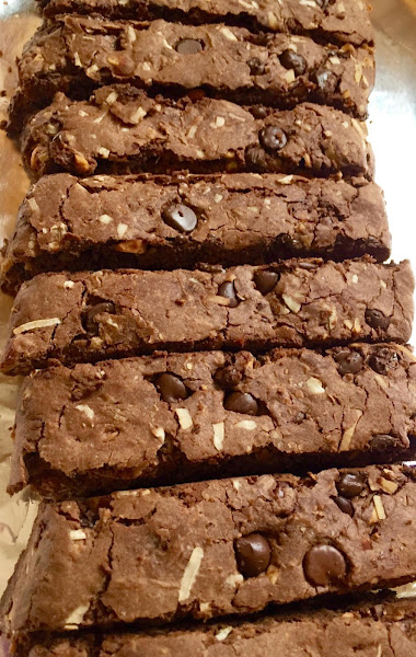 Lower Fat Triple Chocolate Coconut Almond Biscotti Recipe