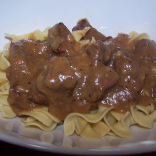 Nana's Beef Tips with Noodles.