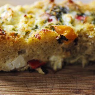 Gluten Free Cheesy Spinach & Bell Pepper Strata